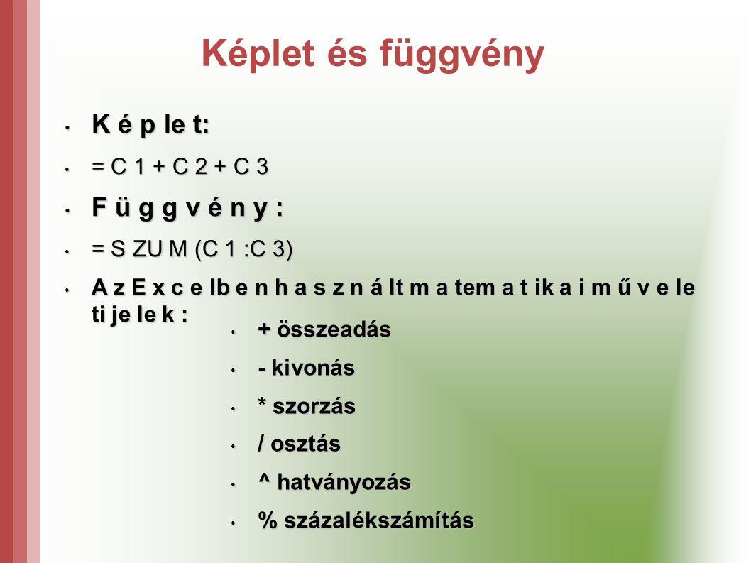 Képlet és függvény K é p le t: F ü g g v é n y : = C 1 + C 2 + C 3