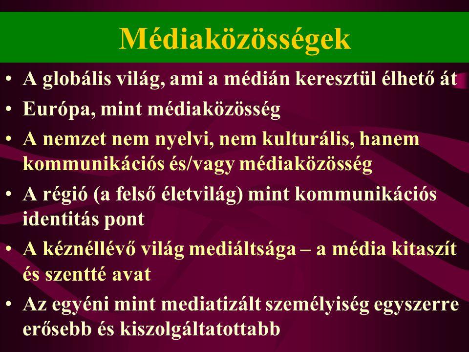 Médiaközösségek A globális világ, ami a médián keresztül élhető át