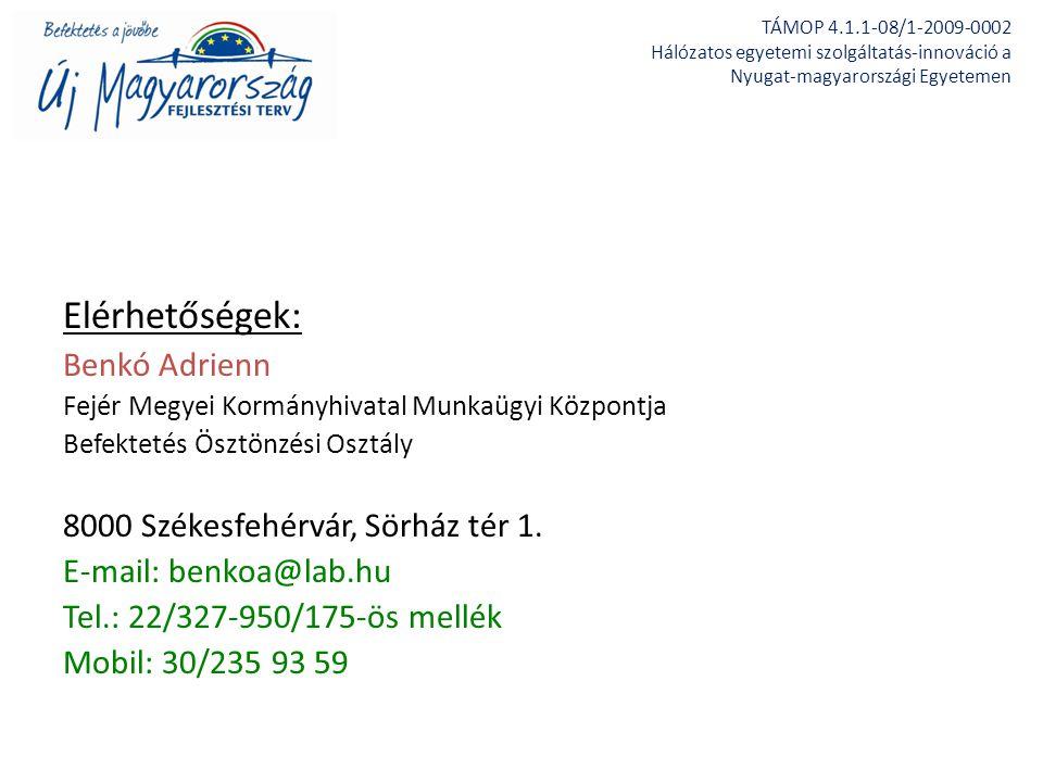 Elérhetőségek: Benkó Adrienn 8000 Székesfehérvár, Sörház tér 1.
