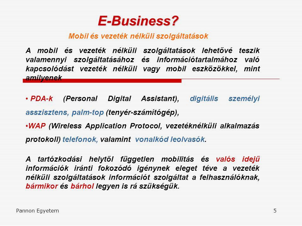 E-Business Mobil és vezeték nélküli szolgáltatások