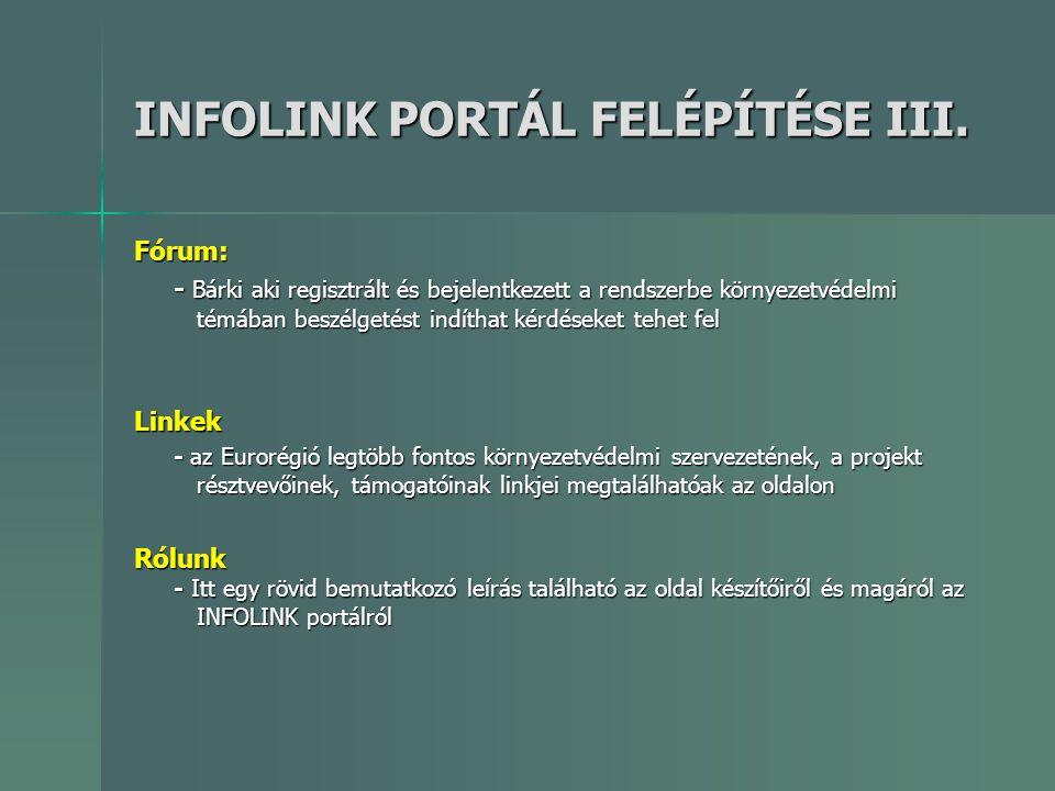 INFOLINK PORTÁL FELÉPÍTÉSE III.