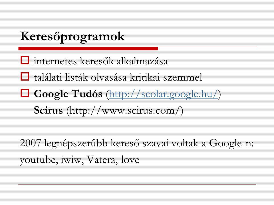 Keresőprogramok internetes keresők alkalmazása
