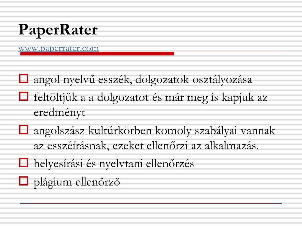 PaperRater angol nyelvű esszék, dolgozatok osztályozása