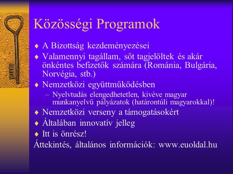 Közösségi Programok A Bizottság kezdeményezései