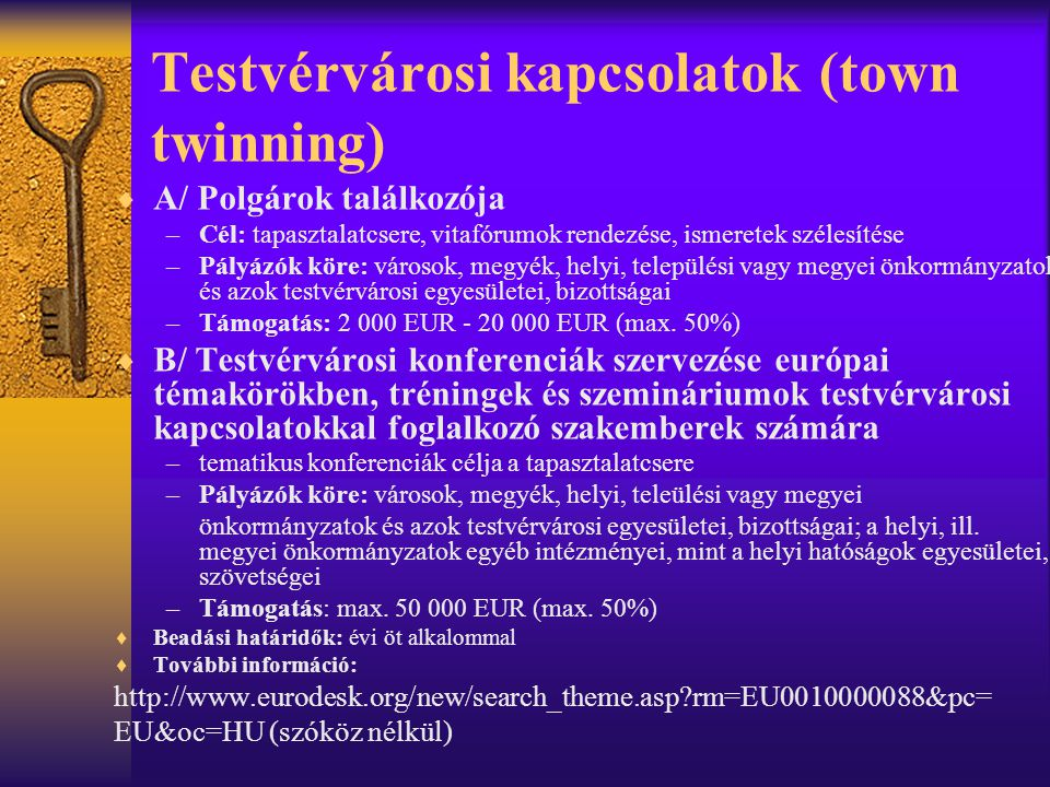 Testvérvárosi kapcsolatok (town twinning)