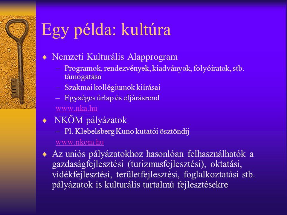 Egy példa: kultúra Nemzeti Kulturális Alapprogram NKÖM pályázatok