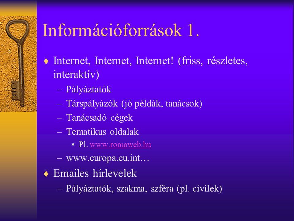 Információforrások 1. Internet, Internet, Internet! (friss, részletes, interaktív) Pályáztatók. Társpályázók (jó példák, tanácsok)