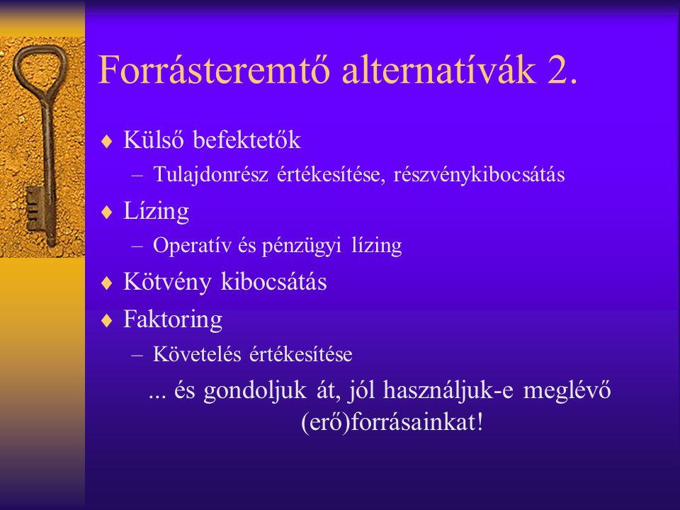 Forrásteremtő alternatívák 2.