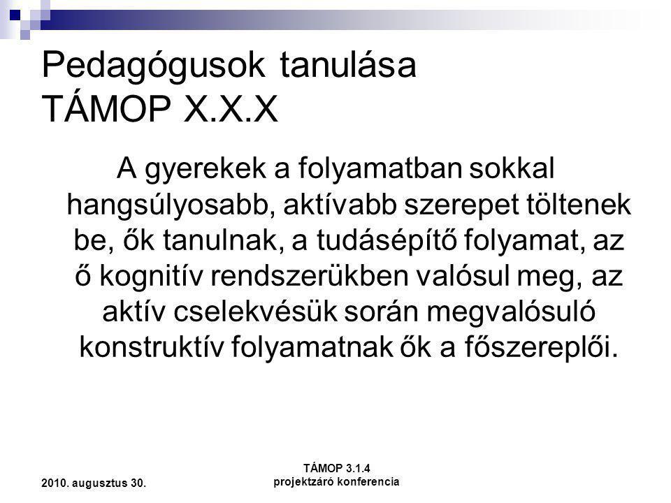 Pedagógusok tanulása TÁMOP X.X.X