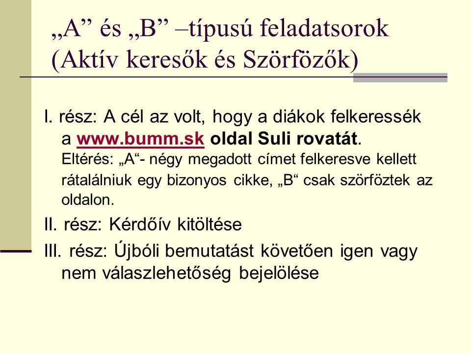 """""""A és """"B –típusú feladatsorok (Aktív keresők és Szörfözők)"""