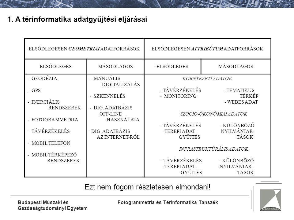 1. A térinformatika adatgyűjtési eljárásai