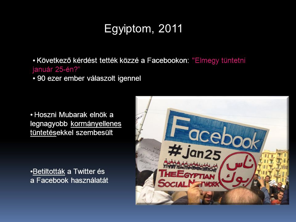 Egyiptom, 2011 Következő kérdést tették közzé a Facebookon: Elmegy tüntetni január 25-én 90 ezer ember válaszolt igennel.