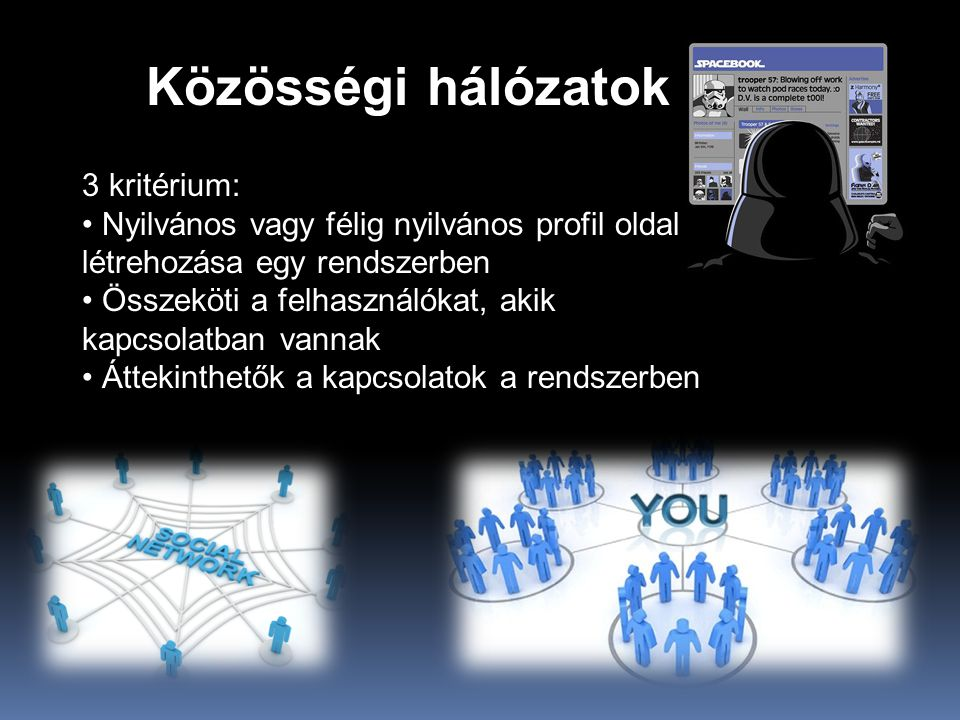 Közösségi hálózatok 3 kritérium: