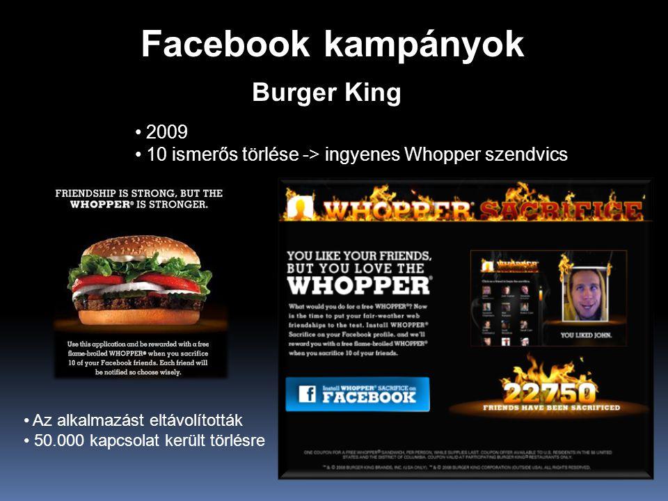 Facebook kampányok Burger King 2009