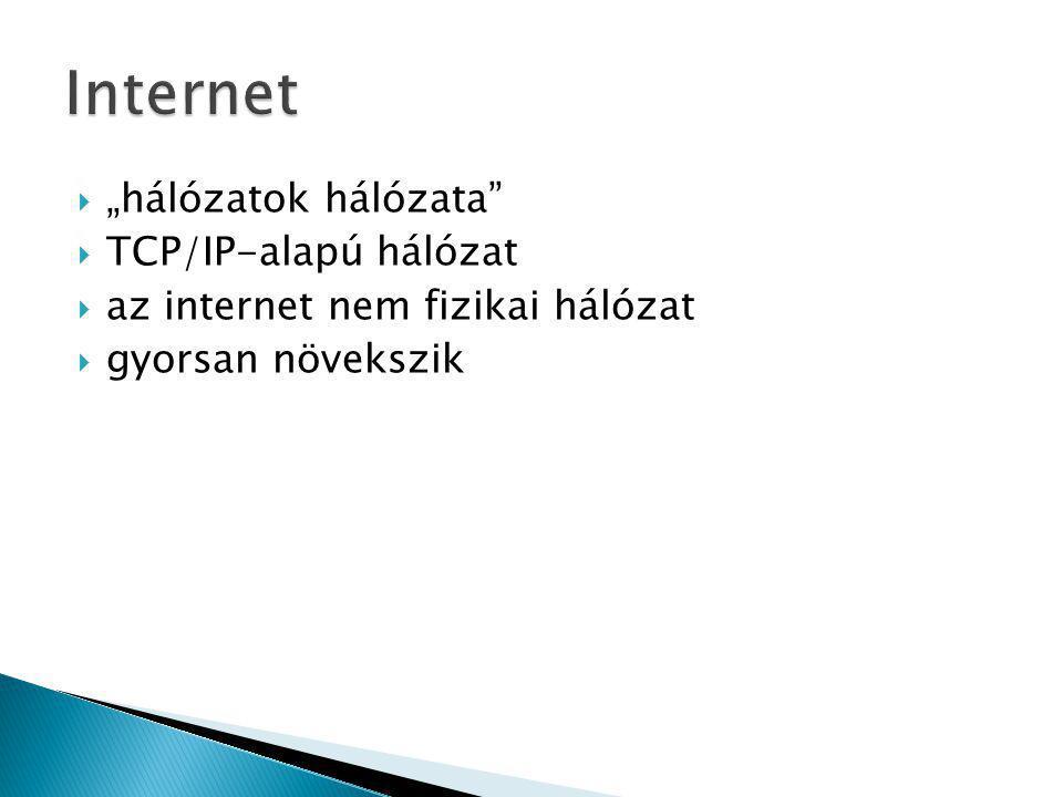 """Internet """"hálózatok hálózata TCP/IP-alapú hálózat"""