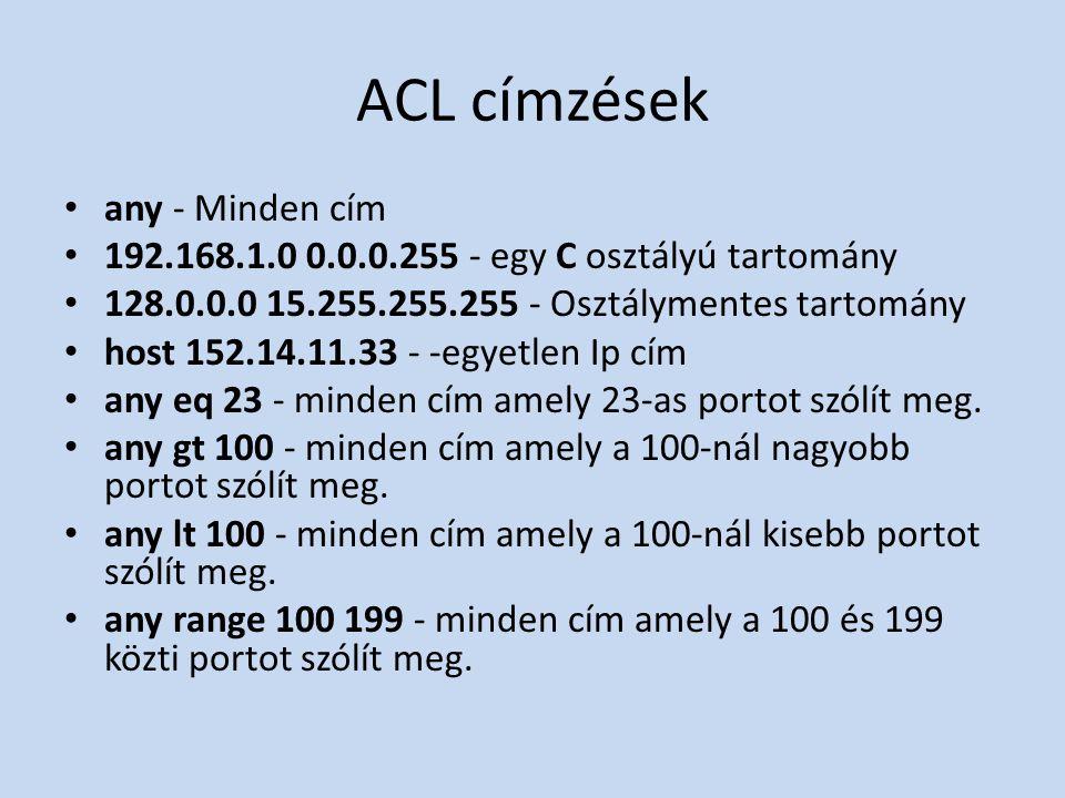 ACL címzések any - Minden cím