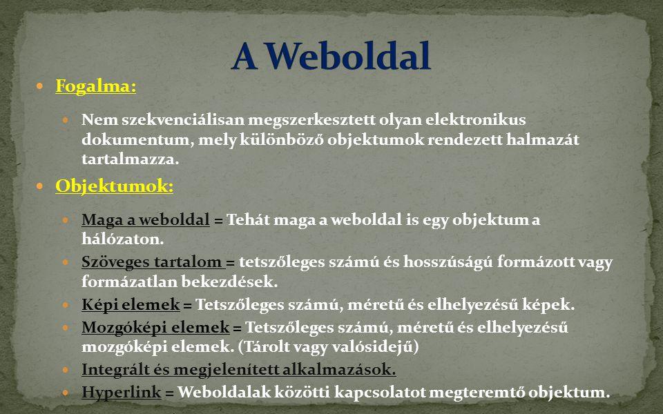 A Weboldal Fogalma: Objektumok: