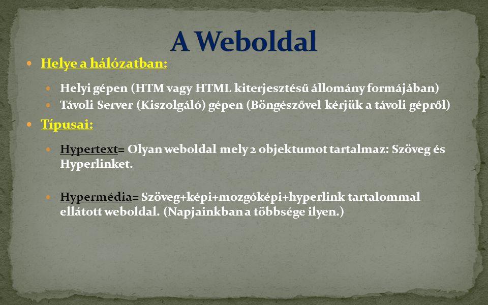 A Weboldal Helye a hálózatban: Típusai: