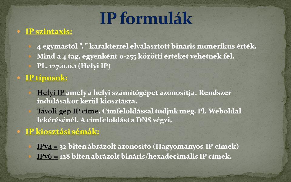 IP formulák IP szintaxis: IP típusok: IP kiosztási sémák: