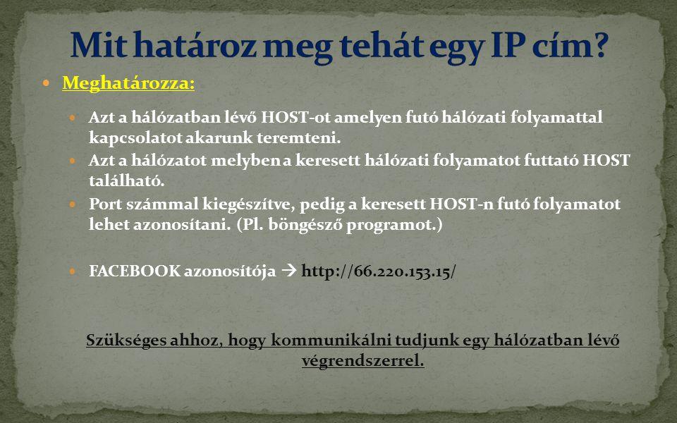 Mit határoz meg tehát egy IP cím