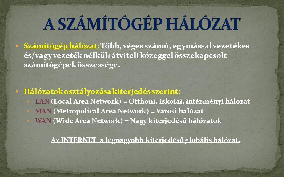 Az INTERNET a legnagyobb kiterjedésű globális hálózat.