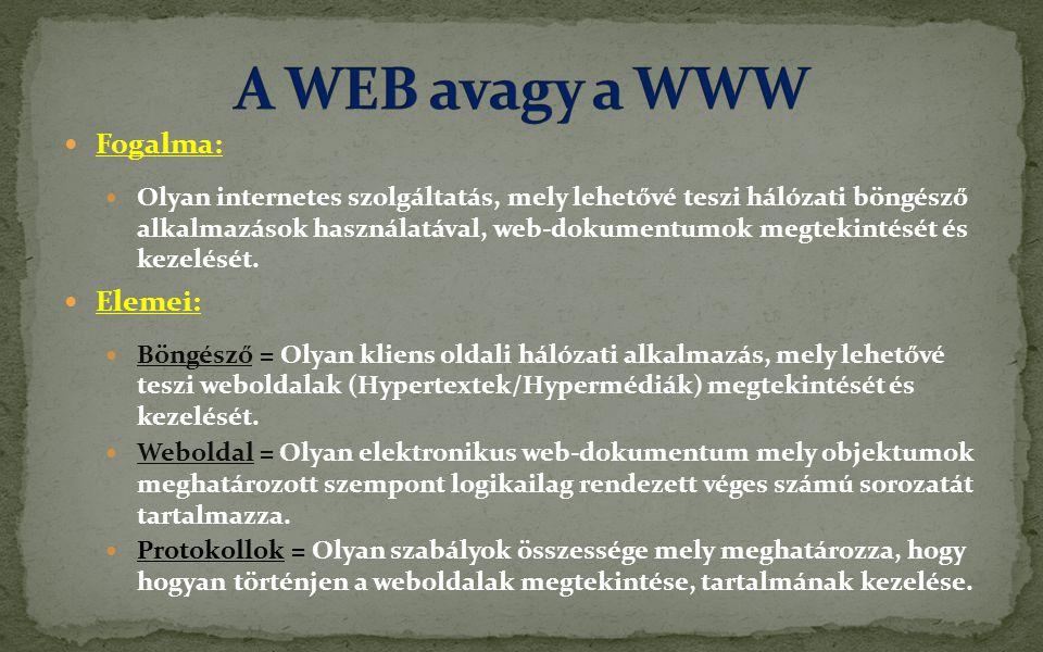 A WEB avagy a WWW Fogalma: Elemei: