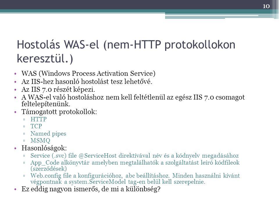 Hostolás WAS-el (nem-HTTP protokollokon keresztül.)