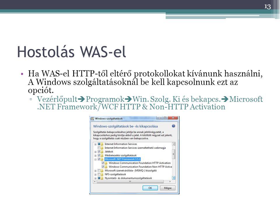 Hostolás WAS-el Ha WAS-el HTTP-től eltérő protokollokat kívánunk használni, A Windows szolgáltatásoknál be kell kapcsolnunk ezt az opciót.