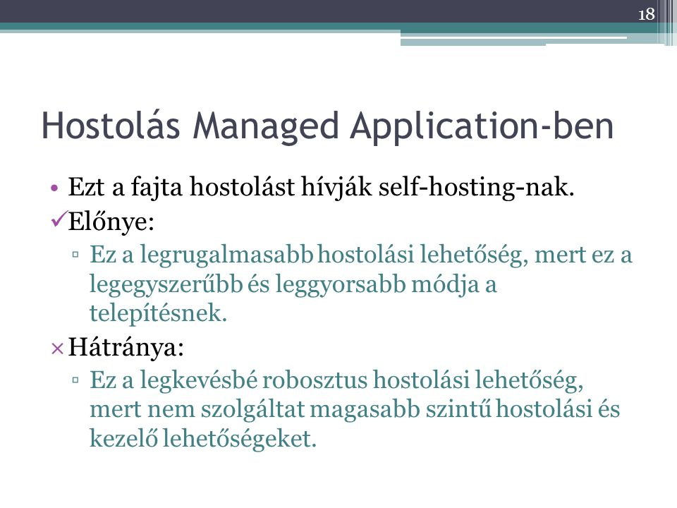 Hostolás Managed Application-ben