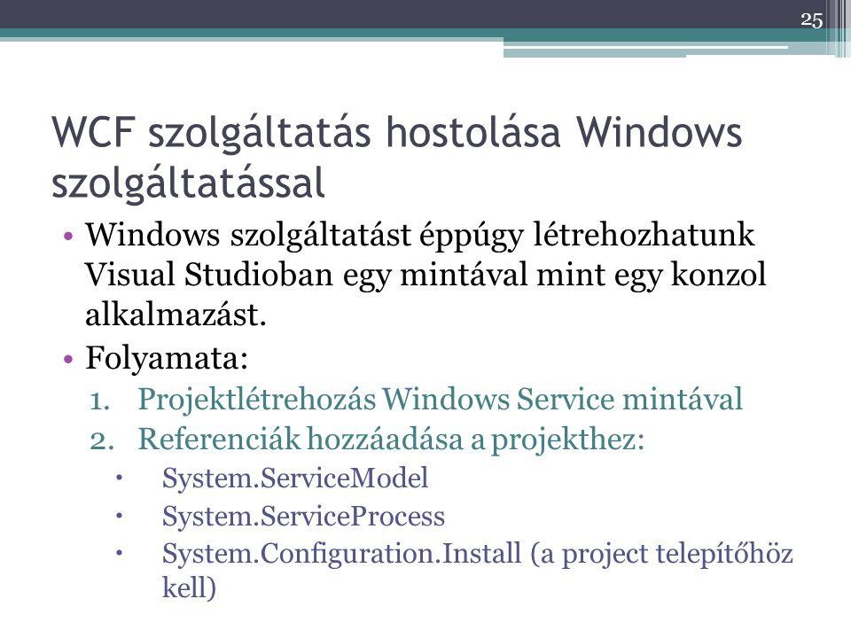 WCF szolgáltatás hostolása Windows szolgáltatással