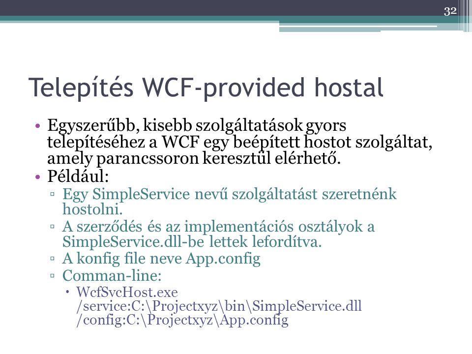 Telepítés WCF-provided hostal