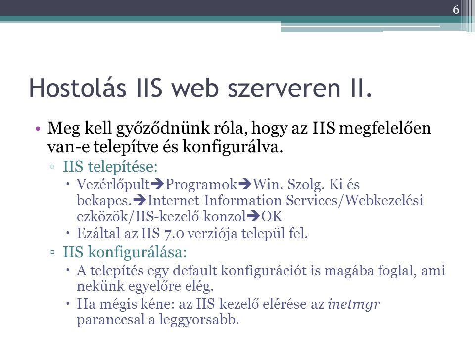 Hostolás IIS web szerveren II.
