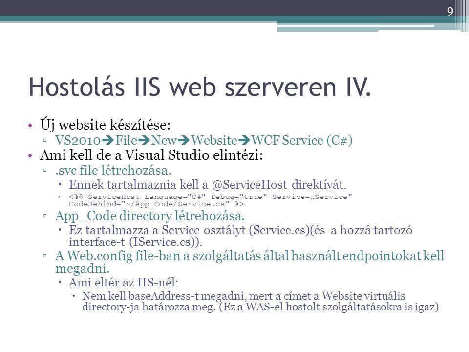 Hostolás IIS web szerveren IV.