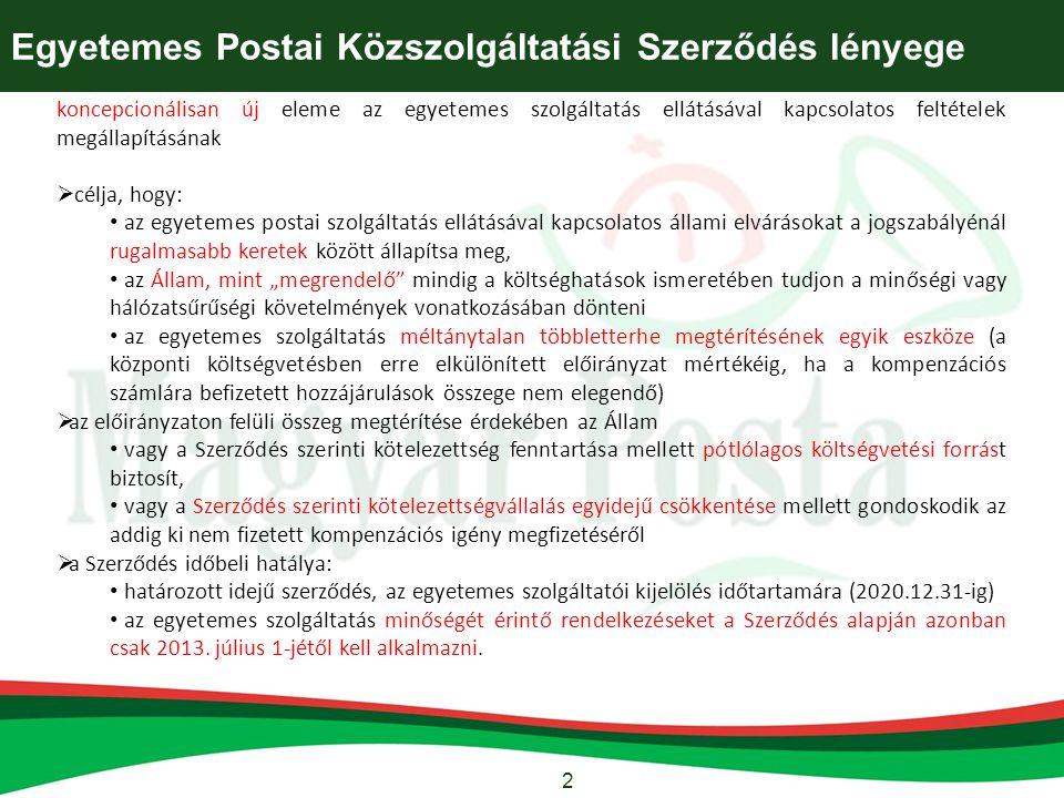 Egyetemes Postai Közszolgáltatási Szerződés lényege