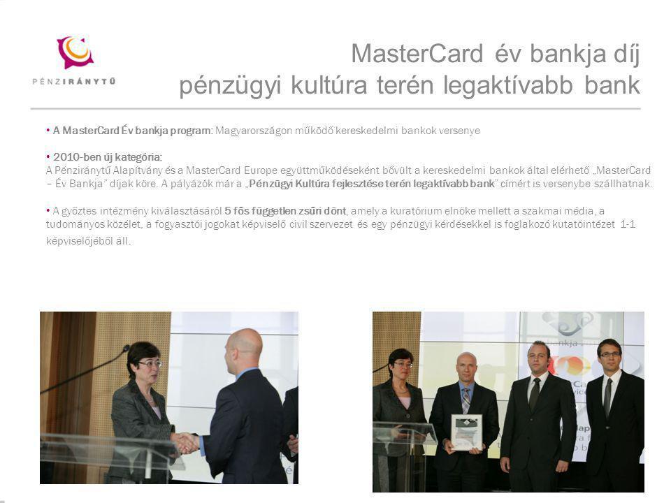MasterCard év bankja díj pénzügyi kultúra terén legaktívabb bank