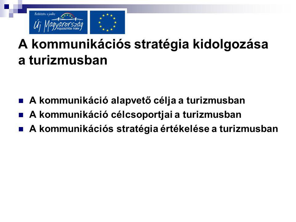 A kommunikációs stratégia kidolgozása a turizmusban