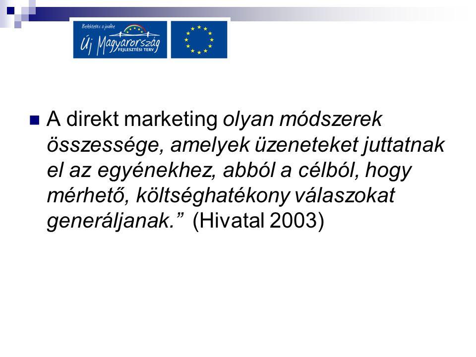 A direkt marketing olyan módszerek összessége, amelyek üzeneteket juttatnak el az egyénekhez, abból a célból, hogy mérhető, költséghatékony válaszokat generáljanak. (Hivatal 2003)