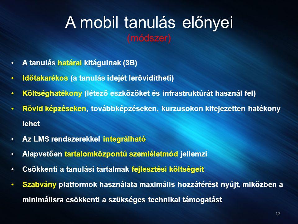 A mobil tanulás előnyei (módszer)