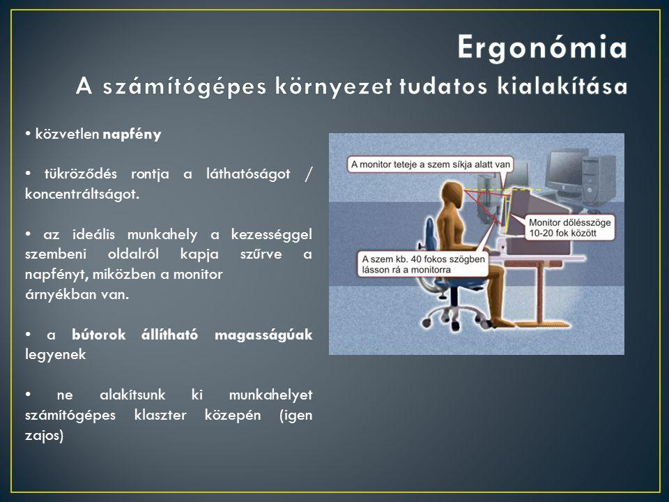 Ergonómia A számítógépes környezet tudatos kialakítása
