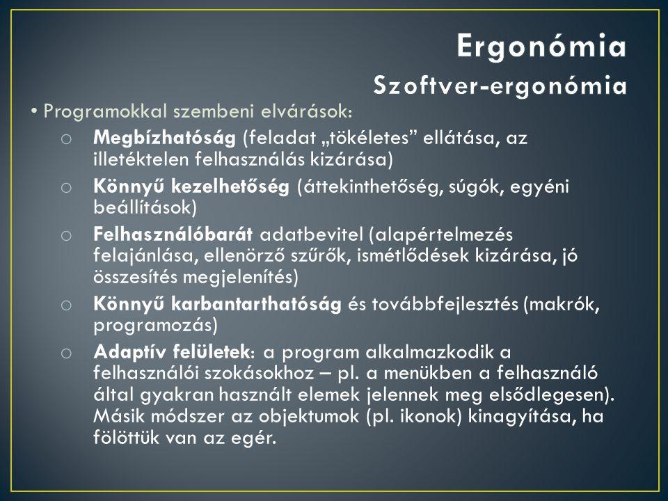 Ergonómia Szoftver-ergonómia