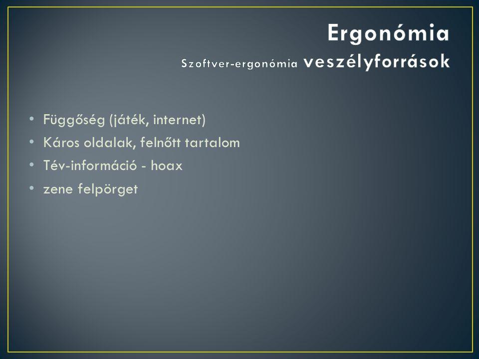 Ergonómia Szoftver-ergonómia veszélyforrások