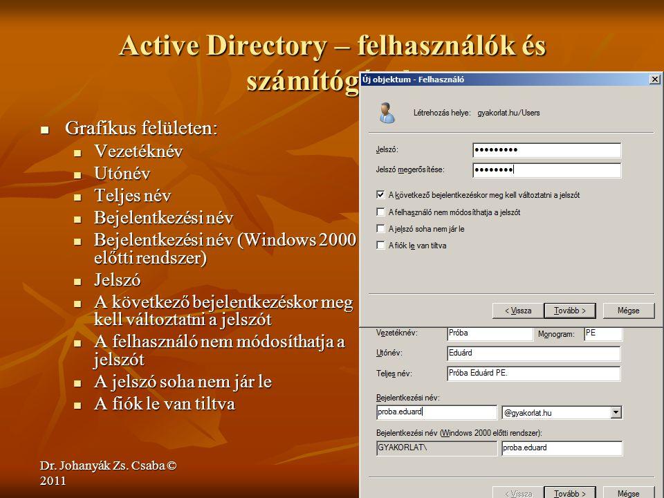 Active Directory – felhasználók és számítógépek
