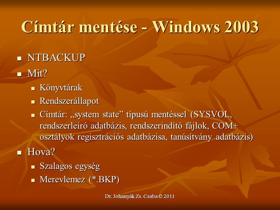 Címtár mentése - Windows 2003
