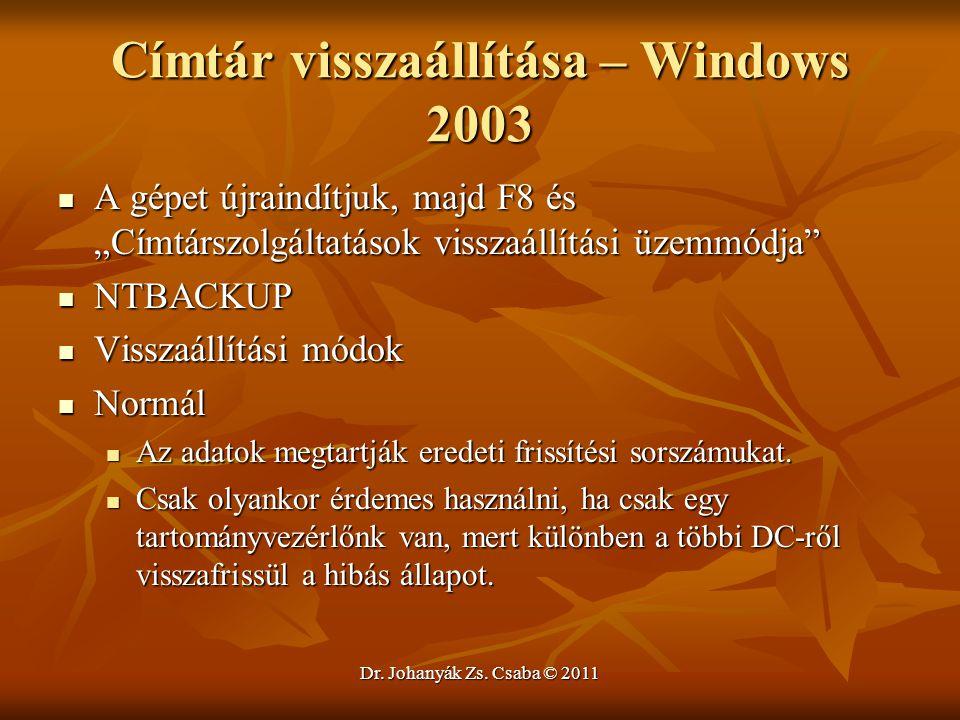 Címtár visszaállítása – Windows 2003