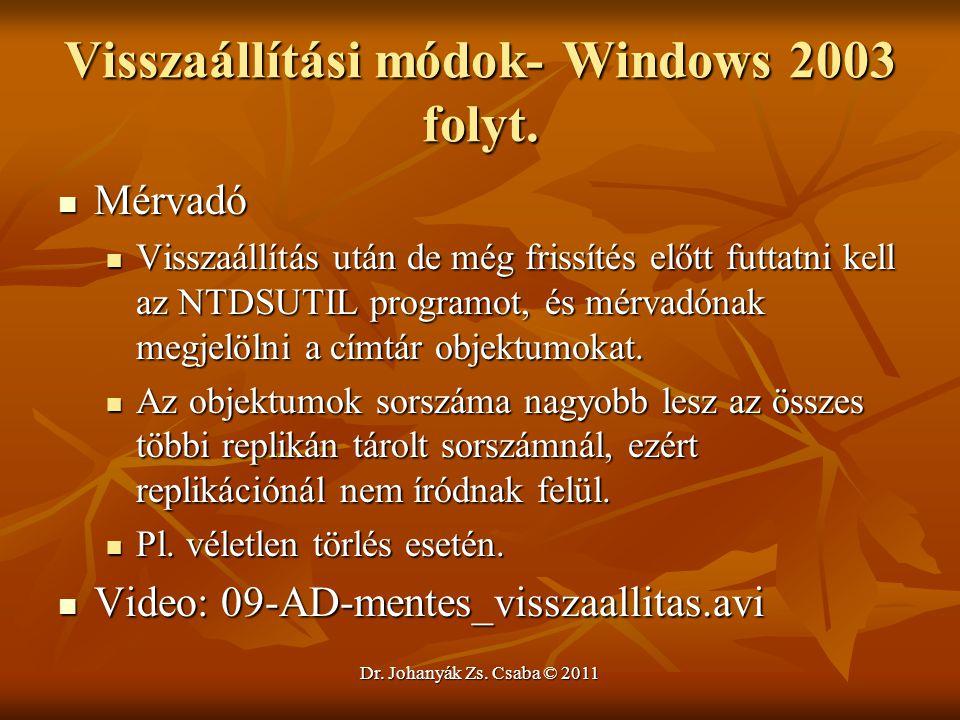 Visszaállítási módok- Windows 2003 folyt.