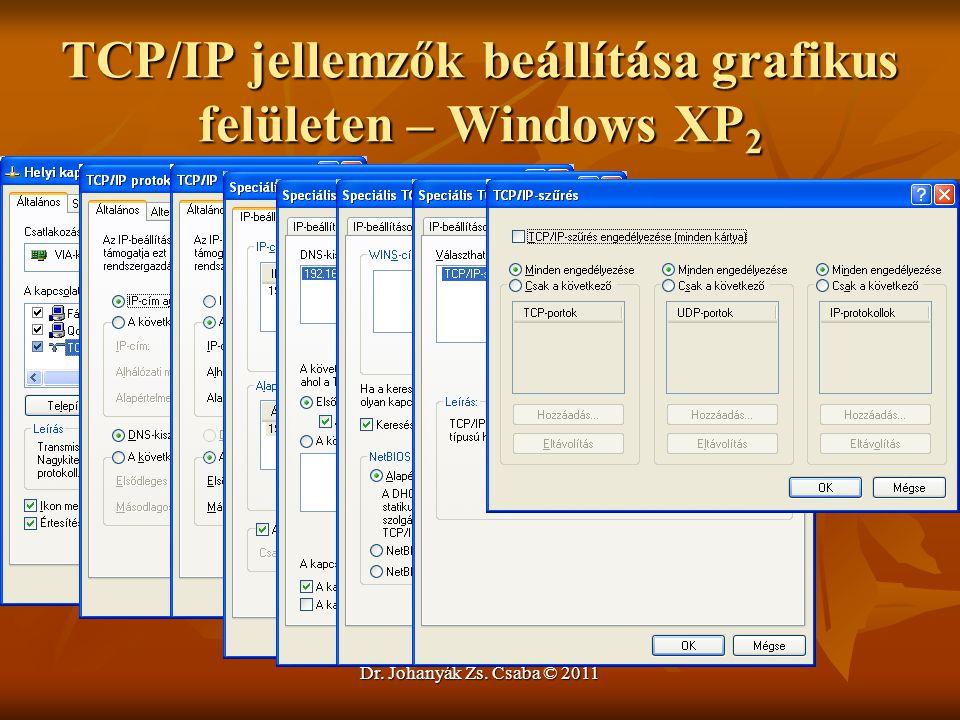 TCP/IP jellemzők beállítása grafikus felületen – Windows XP2