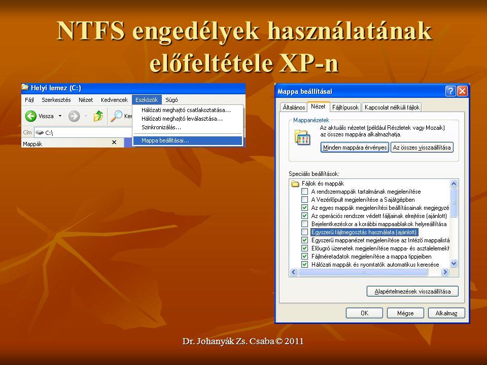 NTFS engedélyek használatának előfeltétele XP-n
