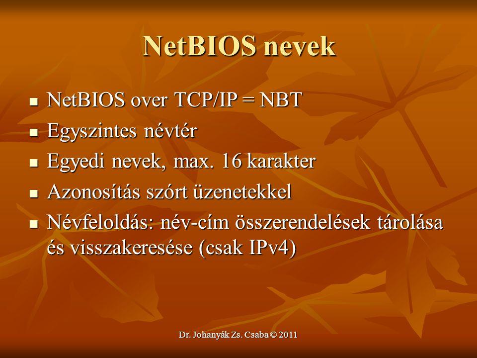 NetBIOS nevek NetBIOS over TCP/IP = NBT Egyszintes névtér
