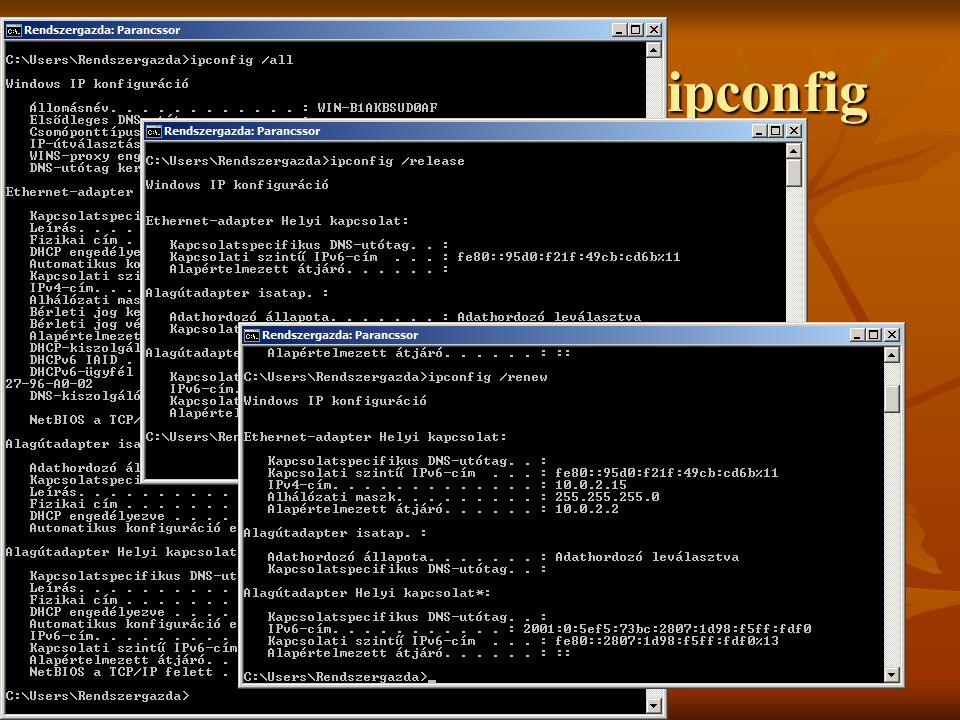 TCP/IP konfiguráció - ipconfig