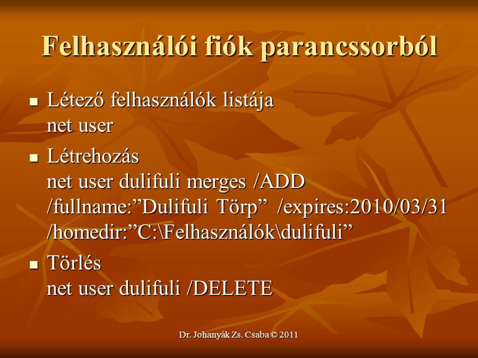 Felhasználói fiók parancssorból